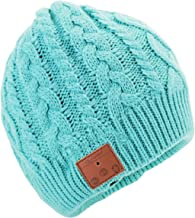 Tenergy Wireless Bluetooth Beanie Hat with Detachable Stereo Speakers & Microphone, Fleece-Lined Music Beanie for Women Outdoor Sports, Braid Cable Knit (Tame Teal)