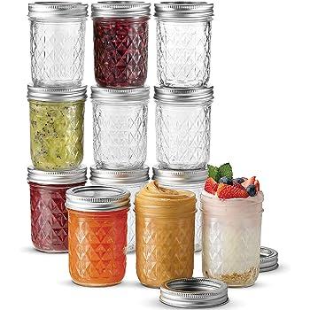 Ball Regular Mouth Mason Jars 8 oz, 12 Pack Canning Jars, With Regular Mouth Lids and Bands, For canning, Freezing, Fermenting, Pickling, Preserving - Microwave & Dishwasher Safe + SEWANTA Jar Opener