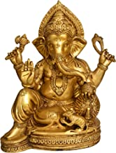 Chaturbhuja Relaxing Ganesha Seated on a Chowki with Cushion - Brass Statue