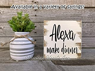 Bath Shower Kitchen Room Gift 5x5 Reclaimed Humor Funny Joke distressed table top decor White or Stained Walnut Brown ALEXA clean the bathroom Sign Wood Do the Laundry Do the Dishes