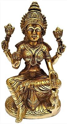 Purpledip Brass Idol Ma Lakshmi, Hindu Goddess of Prosperity &Wealth: Collectible Statue (11568)