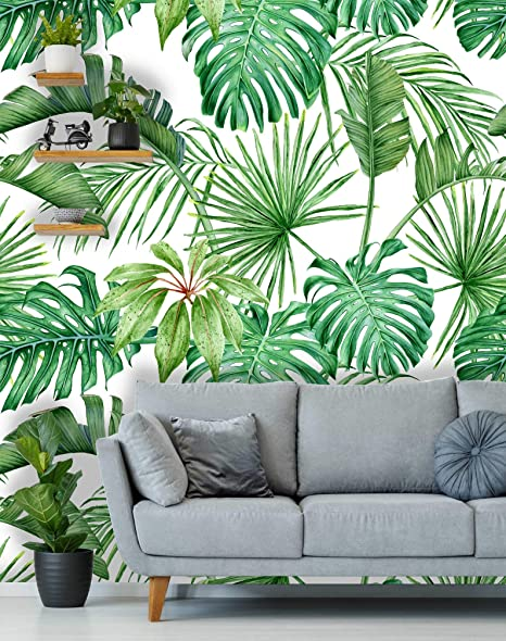 Removable Wallpaper Peel and Stick Wallpaper Self-Adhesive Wall Mural Tropical Wallpaper