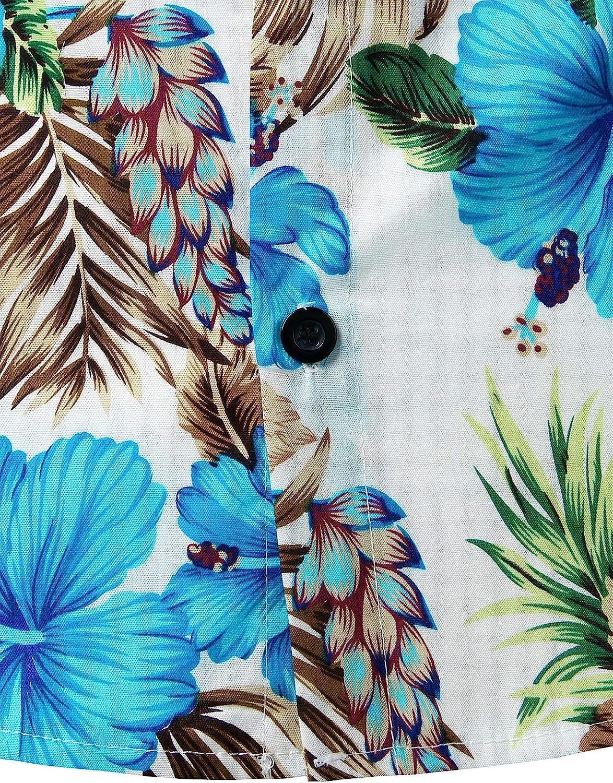 JOGAL Men's Flower Casual Short Sleeve Aloha Hawaiian Shirt