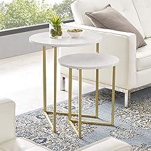 مجموعة التعشيش المعدنية المستديرة الحديثة AZFVICNSTMW من شركة ووكر إديسون فيرنتشر كومباني، مجموعة من 2، رخامي أبيض/ذهبي
