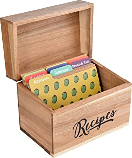 Acacia Wood Recipe Box with Cards and Dividers 4x6 Double-Sided 25. Sturdy Beautiful with 9 Colorful Dividers. Cherish and Protect Your Family Recipes Forever.