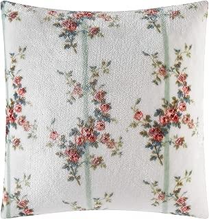 Shabby Chic Rachel Ashwell Eleanor Floral Printed Royal Plush Faux Velvet Vintage Farmhouse Decorative Throw Pillow, 18X18, White