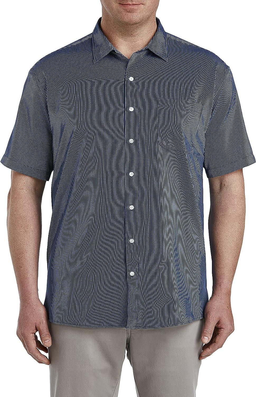 Harbor Bay by DXL Big and Tall Tonal Stripe Microfiber Sport Shirt, Navy