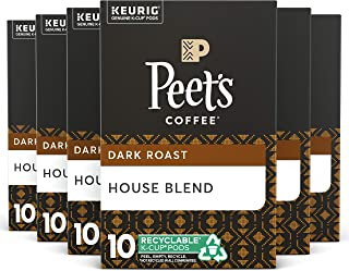 Peet's Coffee, House Blend, Dark Roast, K-Cup Pack (60 ct.), Single Cup Coffee Pods, Bright, Lively, Balanced Dark Roast Blend of Latin American Coffees, Deep Roasted for All Keurig K-Cup Brewers