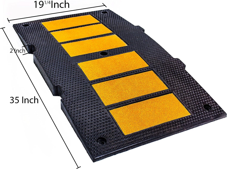 1 Speed Hump, 4 Spikes RK-SPBP6 Modular Rubber 6ft Speed Bump Hump ...