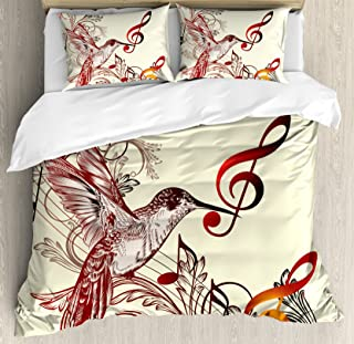 Hummingbirds Decorations Queen Size Duvet Cover Set by Ambesonne, Flying Bird and Music Notes Clef Five Line Staff Musical Creative Artistic Ornate, Decorative 3 Piece Bedding Set with 2 Pillow Shams