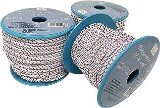 6mm gevlochten lijn - touw op rol - 6 mm x 50 m wit/blauw/rood polypropyleen touw PP, vastmakerslijn, multifunctioneel tou...