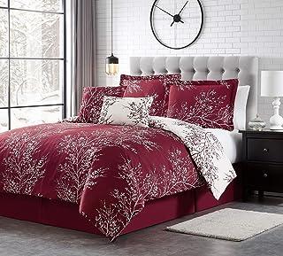 Spirit Linen 6pc Warm and Cozy Comforter Set Platinum Bedding Collection Baby Soft Texture Plush Bed Blanket (Burgundy, Queen)
