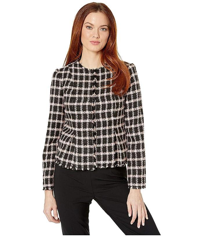 CeCe  Long Sleeve Grid Tweed Frayed Jacket (Rich Black) Womens Clothing