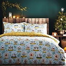 furn. Twelve Days of Christmas Duvet Cover Set, Blue, Single
