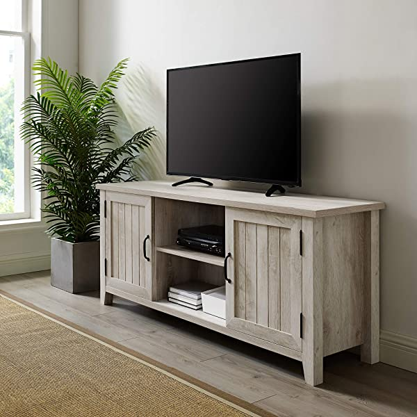 WE Furniture AZ58CS2DWO TV Stand 58 White Oak