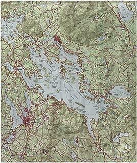 Betsy Drake Lake Winnipesaukee, NH Nautical Map Fleece Throw Blanket 60 X 50 Inches