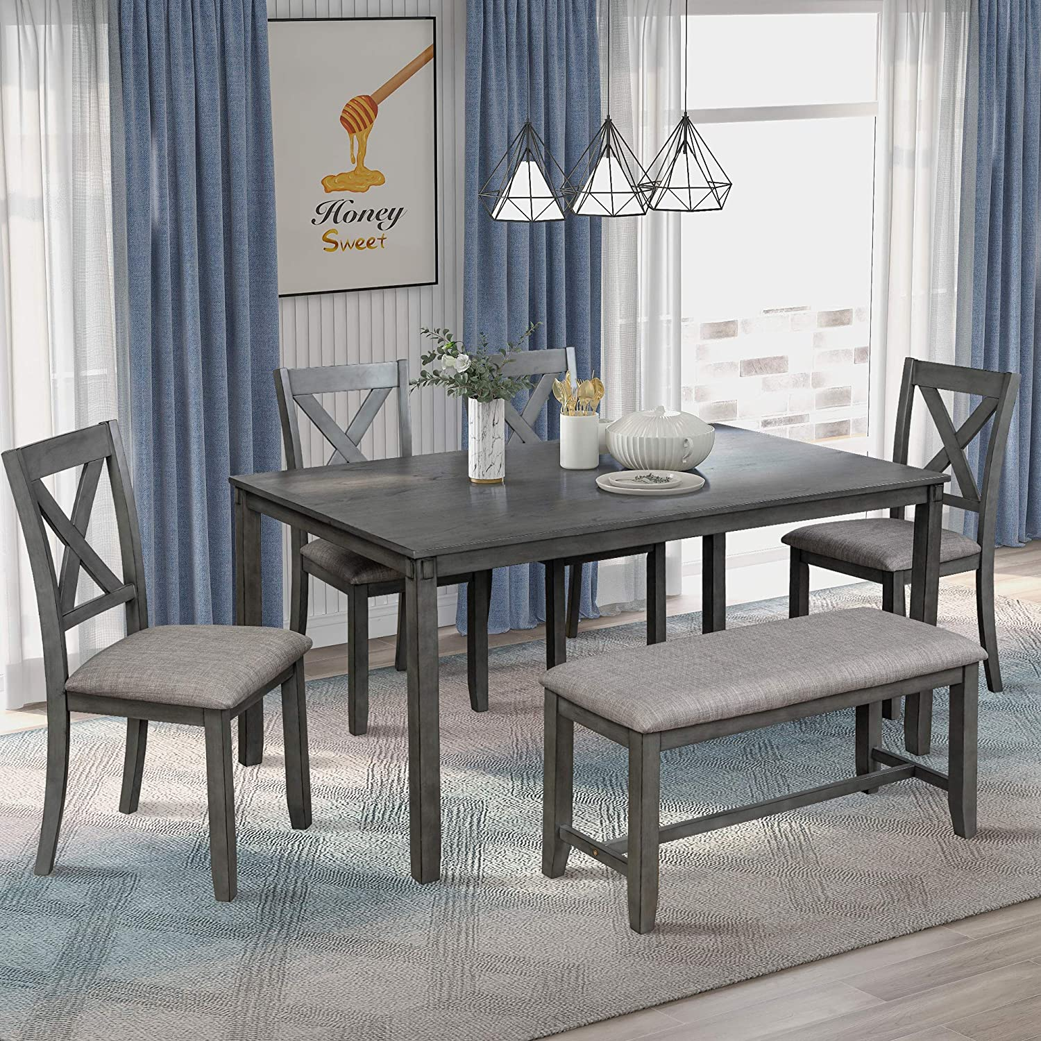 LZ LEISURE ZONE 9 Piece Wooden Dining Table Set with Bench and 9 Dining  Chairs, Kitchen Table Set Family Furniture for 9 People Grey