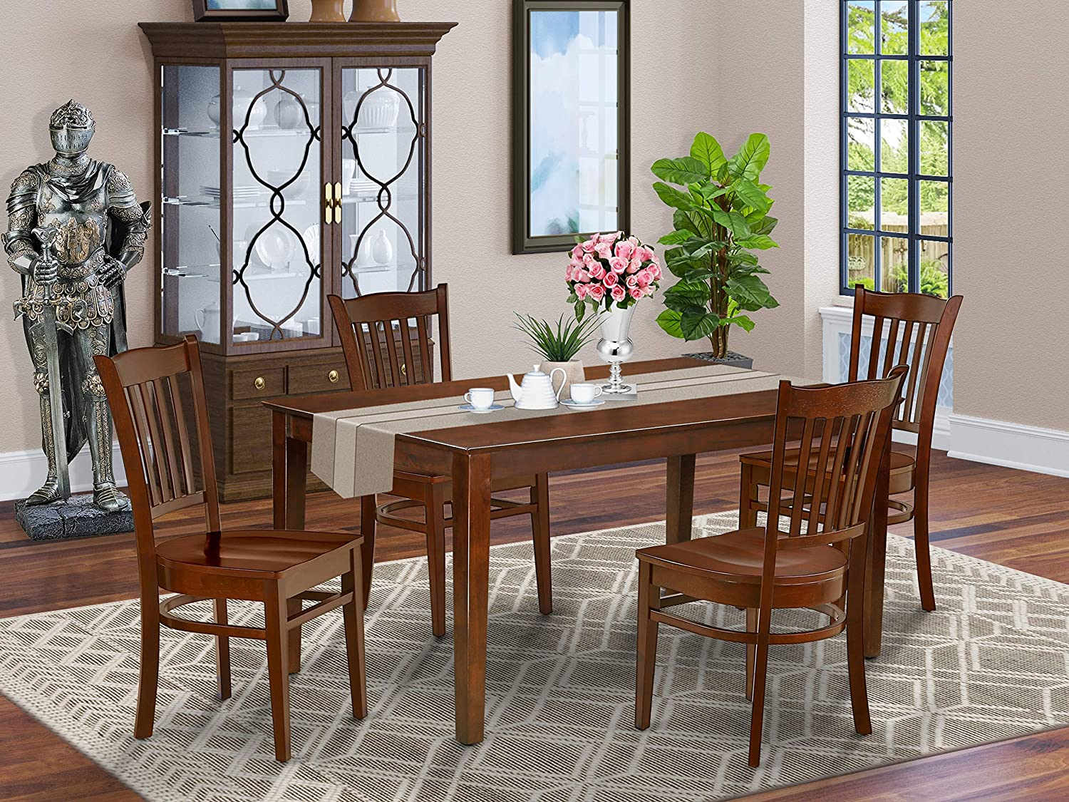East West Furniture Washington excellence Mall Rectangular Dining Table Pc D Set 5 Wooden -