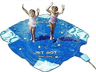 Sportspower Jet Mat— Outdoor 10' x 10' Water Sprinkler Splash Mat with Waterpark Jumping Jet Fountain Control System