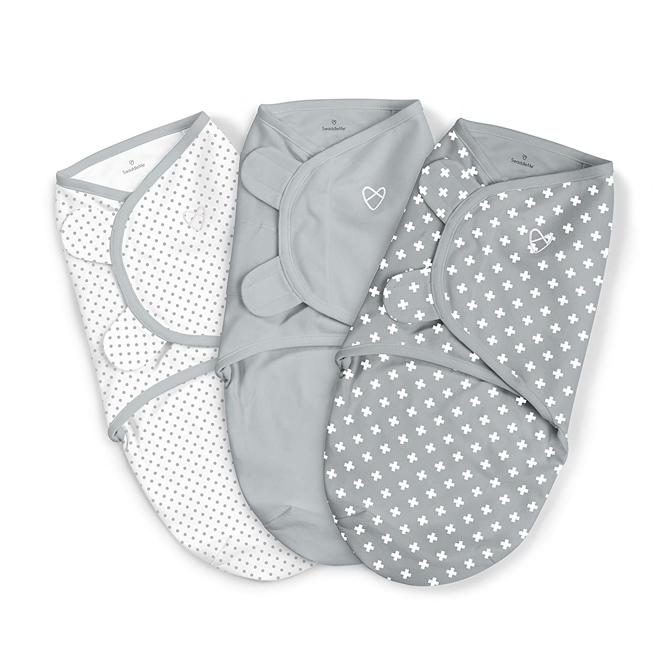 SwaddleMe Original Swaddle 3PK, Criss Cross Polka Dot, Small (0-3 Months, 7-14 lbs)