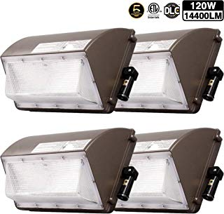 4 Pack 120W New LED Wall Pack with Dusk-to-Dawn Photocell, IP65 Waterproof Outdoor Lighting Fixture, 800-1000W HPS/MH Replacement, 14400lm 5000K 100-277Vac ETL&DLC Listed 5-Year Warranty for ZJOJO