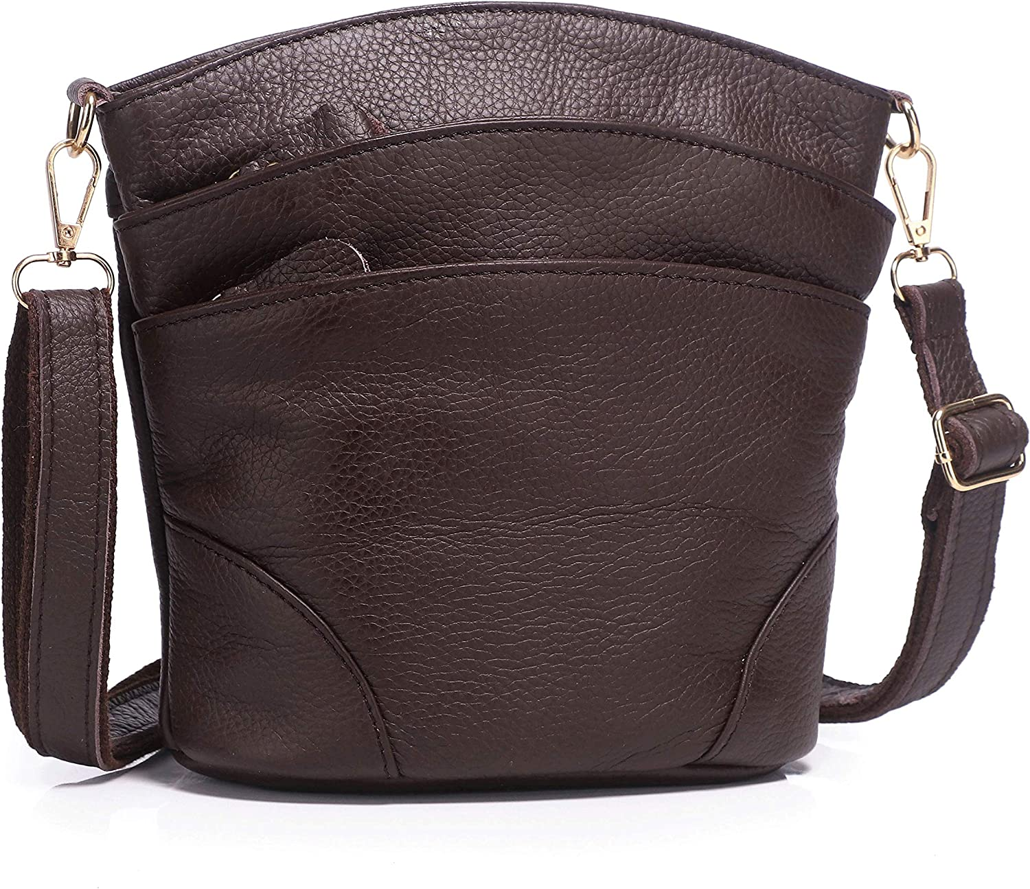 Leather Crossbody Bags for Women, Pocketbooks Purses and Handbags Ladies' Small Multi Pocket Light weight Shoulder bag (Coffee)
