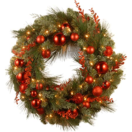 National Tree Company Pre Lit Artificial Christmas Wreath Decorative Collection Flocked With Mixed Decorations And Pre Strung White Led Lights Red Mixed 24 Inch Home Kitchen
