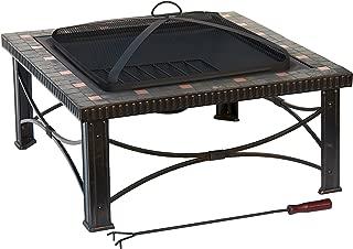 Hiland FTB-51161 Wood Burning Fire Pit w/Poker and Mesh Screen Lid, Large, Slate/Copper