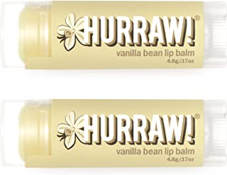 Hurraw! Vanilla Bean Lip Balm, 2 Pack: Organic, Certified Vegan, Cruelty and Gluten Free. Non-GMO, 100% Natural Ingredient...