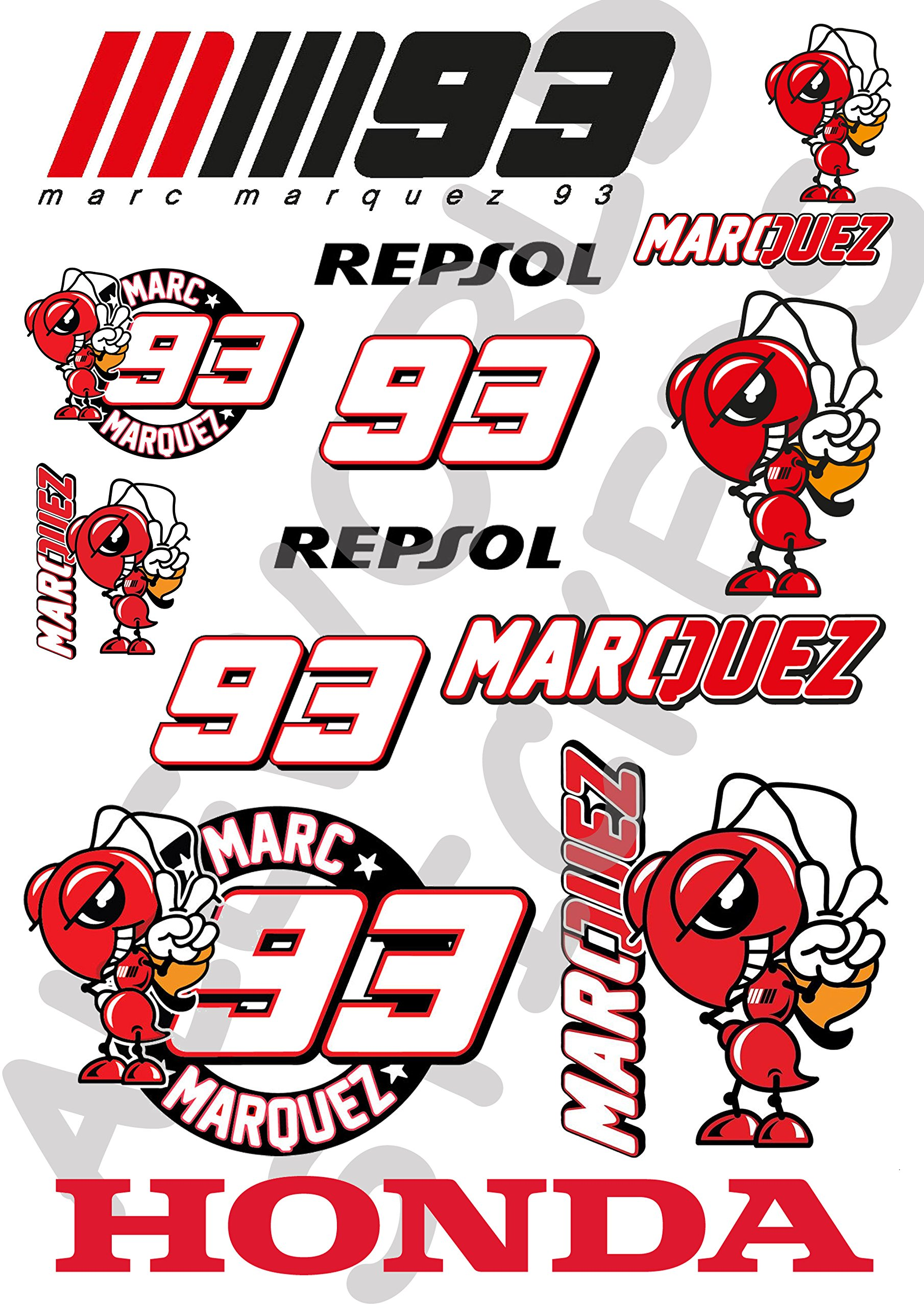 AWS Kit 12 Pegatinas Replica Marc Marquez 93 Stickers Impermeables ...