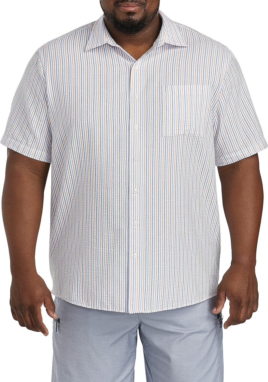 Oak Hill by DXL Big and Tall Seersucker Multi Stripe Sport Shirt, Orange