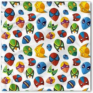 Lunarable Superhero Bandana, Cartoon Character Masks, Unisex Head and Neck Tie