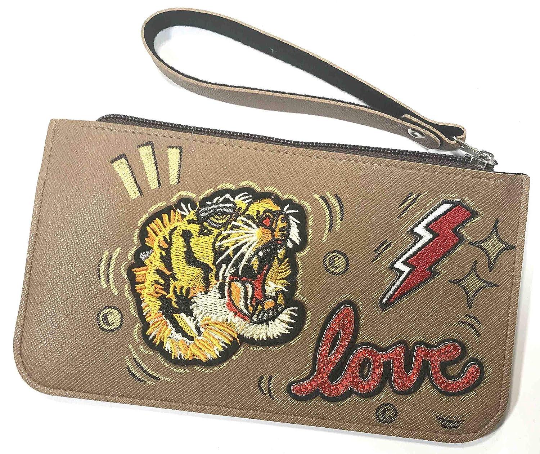 Brown Sales Wristlet Clutch Bag Purse Wallet Embroide Tiger Leather PU Sales results No. 1
