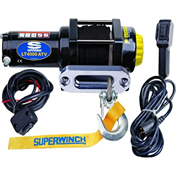 Superwinch 1140230 Black LT4000SR Winch 4,000 lbs, 12 VDC, 3/16 in x 50 ft Synthetic Rope, Sealed Solenoid, 12 ft Handheld Remote and Switch, 1.4 Hp,Holding Brake,166:1 Gear Ratio,Aluminum Hawse