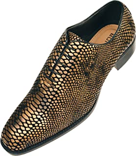 3d85572c3c3d4 Bolano Mens Exotic Faux Snake Skin Print Oxford Dress Shoe  Style Seabrook