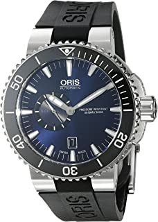 Oris Men's Aquis Stainless Steel Swiss-Automatic Watch with Rubber Strap, Black, 25 (Model: 74376734135RS)