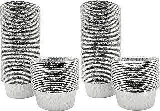 SOHAPY 100Pcs Disposable Aluminum Tin Foil Tarts Pie Pans Baking Cups for Baking Roasting Cooking Reheating BBQ Freezer & ...