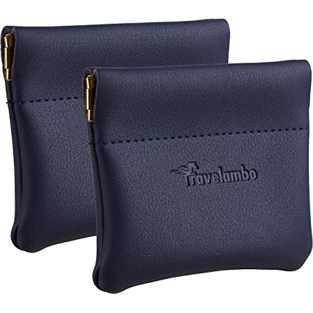 Travelambo Leather Squeeze Coin Purse Pouch Change Holder For Men & Women 2 pcs set
