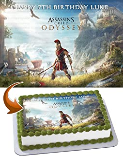 PartyPrint Edible Cake Image for Assassin's Creed Theme Party Birthday Topper Personalized 1/4 Sheet
