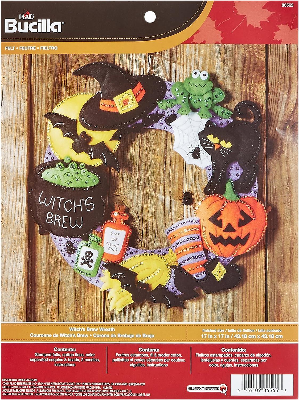Bucilla Felt Applique Wall Hanging Wreath Kit, 17 by 17-Inch, Witch's Brew