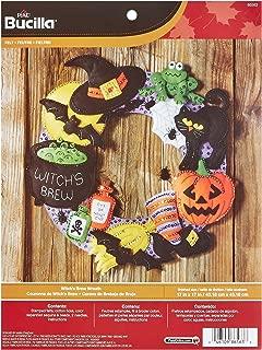 Bucilla Felt Applique Wall Hanging Wreath Kit, 17 by 17-Inch, 86563 Witch's Brew
