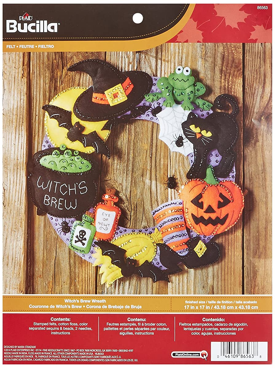 Bucilla Felt Applique Wall Hanging Wreath Kit, 17 by 17-Inch, 86563 Witch's Brew