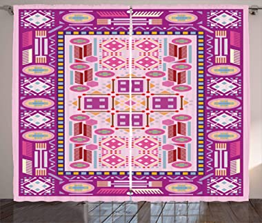 Kenneth Camilla Traditional Afghan Motif Curtain,Adjustable Tie Up Shade Rod Pocket Curtains,54 x 84 inchs