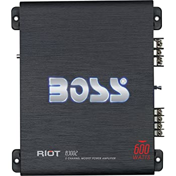 BOSS Audio Systems R3002 - Riot 600 Watt, 2 Channel, 2 4 Ohm Stable Class AB, Full Range, Bridgeable, Mosfet Car Amplifier with Remote Subwoofer Control
