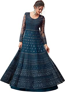 Fancy Lifestyle Net With Soft Silk Inner Semi-Stitched Designer Gown Suit for women (Semi-Stitched)