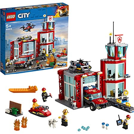 LEGO City Fire Caserma dei Pompieri, Set di Costruzioni con Fuoristrada Giocattolo, Scooter Acquatico, Drone e 3 Minifigure di Vigili del Fuoco più un Mattoncino Luminoso e Sonoro, 60215