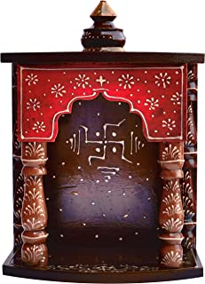 Handicraft Store Hindu Religious colourfull Wood Temple with swastick Symbol for Pooja and Hindu Religious Purpose, for Pooja Room at Home and Office, Religious Perfect for Home. Temple for Home
