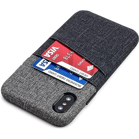 Dockem Luxe Cover Portafoglio per iPhone X/XS: Custodia Minimalista con Porta Carte in Pelle Sintetica con Design a Tela UltraGrip, Cover a Scatto ...