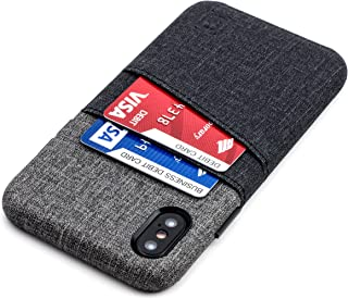 Dockem Luxe Wallet Case for iPhone X/XS: Minimalist Card Case with UltraGrip Canvas Style Synthetic Leather, Slim Professional Snap On Cover w/ 2 Card Holder Slots [Black and Grey]