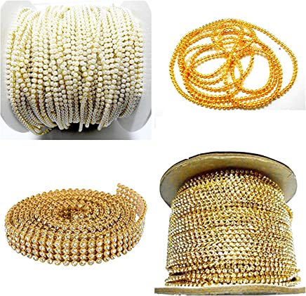 Asian Hobby Crafts Jewellery Making Chains and Stone Lace Combo Set - Pack of 4 Items